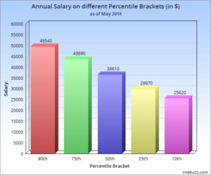 Annual Salary on different Percentile Brackets in NY